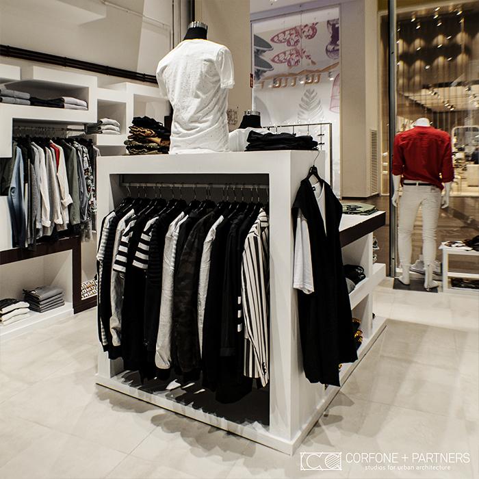 Progettazione negozio abbigliamento DESORDEN 03