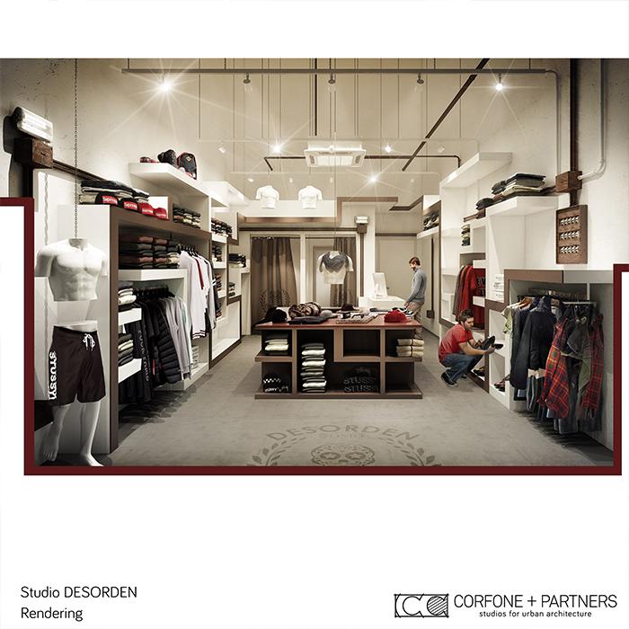 Progettazione negozio abbigliamento DESORDEN 09