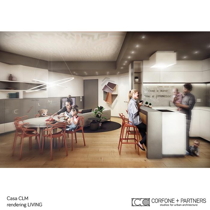 Progetto di interni di casa clm corfone partners for Progetto casa interni
